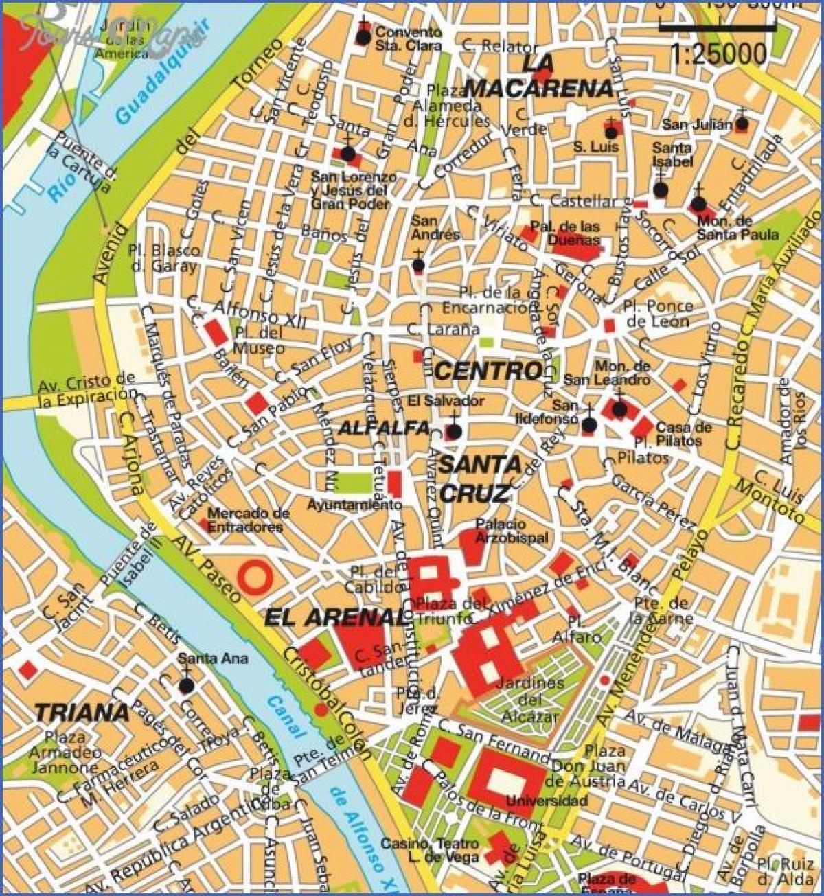 Sevilha Mapa Turistico Sevilha Pontos Turisticos Mapa Andaluzia