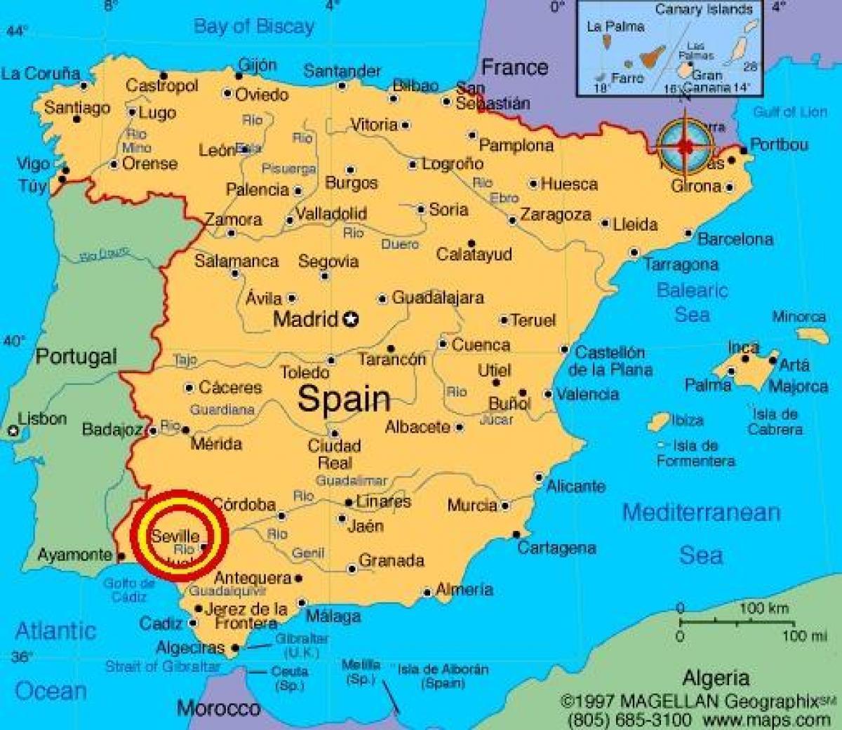 Sevilha Na Espanha Mapa De Sevilha Espanha Mapa De Andaluzia
